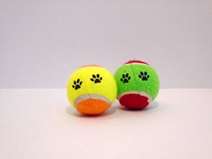 Two Brightly-Colored Tennis Balls with Fun Paw Print Design Dog Toy