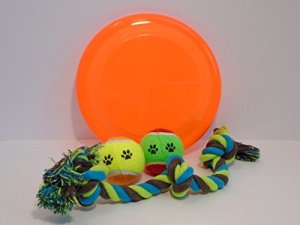 "Classic dog toy bundle features 9"" flying disc two tennis balls cotton tug rope"