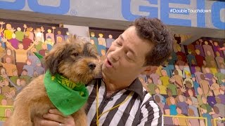 Referee and puppy player congratulated on double touchdown during Animal Planet PuppyBowl