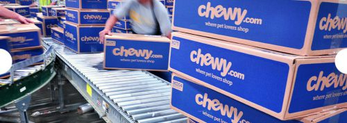 Chewy.com shipping cartons leaving the distribution center with dog food and toys