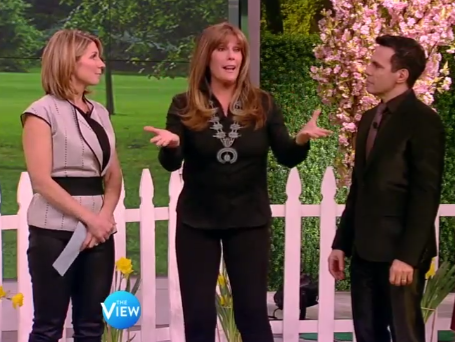 "Jill Rappaport with Nicolle Wallace and Mario Cantone on The View's ""Best In Shelter"" episode"