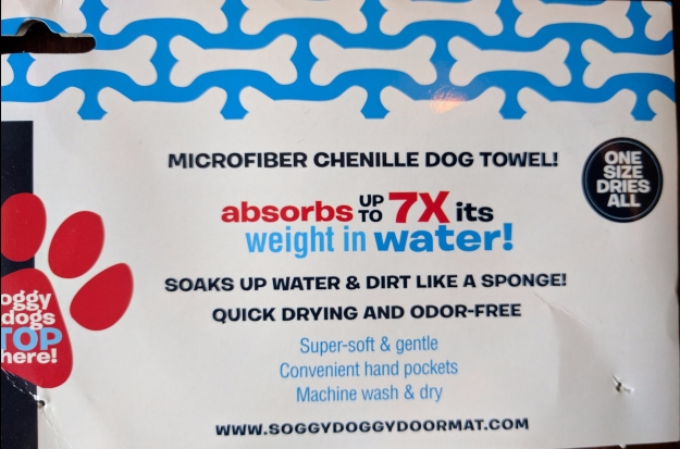 Soggy Doggy Towel information tag
