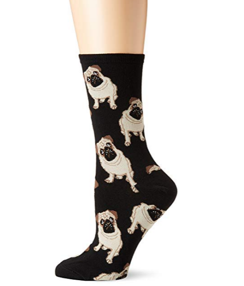 These stylish pug socks feature a curious pug pose on a black background. These socks are sure to spark conversation among fellow dog lovers wherever you go!