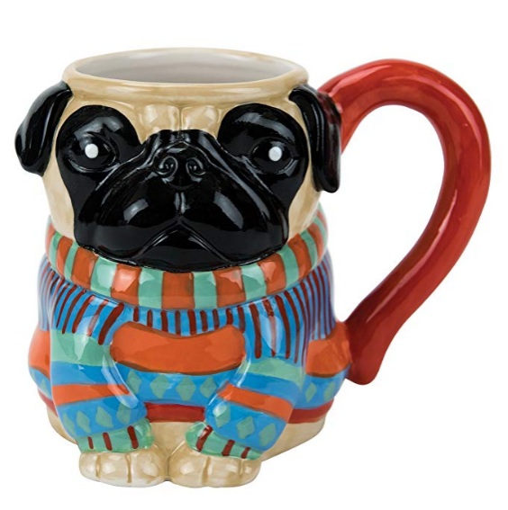 "How can you not smile at this mug with the distinctive pug face and a ""pugly"" sweater. The three dimensional construction of this mug make it sure to stand out in your cupboard or on your desk."
