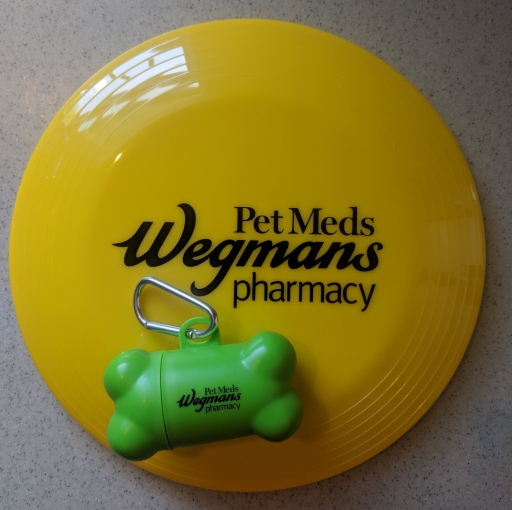 Free dog toys offered for a limited time at the Wegman's grocery store pharmacy when customer inquired about pet medications filled through them!
