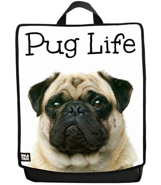 This carry all will show everyone how much you love pugs, and will share their distinctive face with everyone you pass. This polyester backpack has a dedicated laptop sleeve and side water bottle holder.