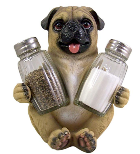 This happy-go-lucky Pug keeps your salt and pepper ready at all times! His infectious smile will bring happiness -and flavor- to any tabletop!