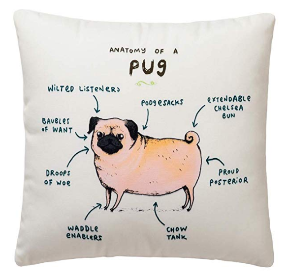 "This lighthearted pillow shows the fun parts of this unique breed. The tail, for example is an ""extendable Chelsea Bun"", and the distinctive wrinkly neck are ""poog sacks"". This is a great accent pillow for any dog lover's home."