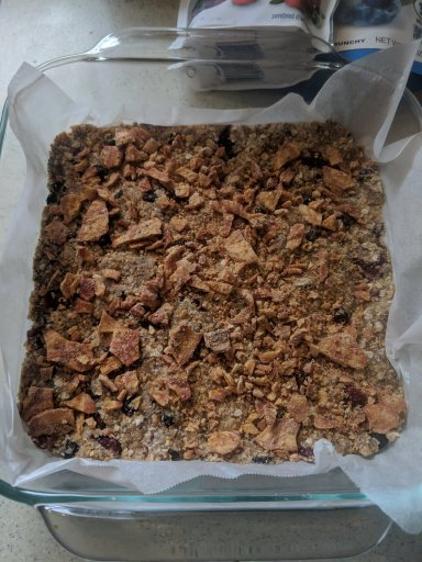 No Bake Trail Mix Dog Treats in a pan with parchment paper